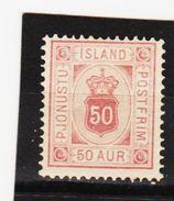MAG1358  ISLAND 1876  Michl  8 A  DIENST  (*) UNGEBRAUCHT Mit FALZ  ZÄHNUNG Siehe ABBILDUNG - Dienstpost
