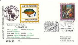 Austria Balloonflight Cover CHRISTKINDL 4-12-1988 - Ballonpost