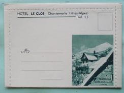V05-A-dep-07-hautes Alpes--chantemerle-hotel Le Clos-tele Serre Chevalier-restaurant-cour-pelouse-chambre-pub Enveloppe - Serre Chevalier