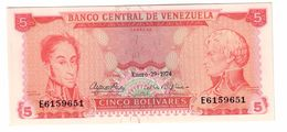 Venezuela 5 Bolivares 29/01/1974 UNC - Venezuela