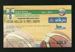 Biglietto Di Ingresso - Pallacanestro Scandone Serie A 2011 - Sidigas Avellino - Pepsi Caserta - Sport