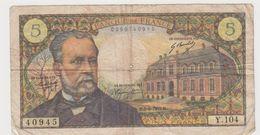 FRANCE 5 Francs Pasteur 5/6/1969 61/10 Y.104 VG - 5 F 1966-1970 ''Pasteur''