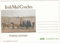 Irish Mail Coaches - Dropping A Passenger - An Post 1989 - Post Exhibition Card - (Ireland) - Ierland