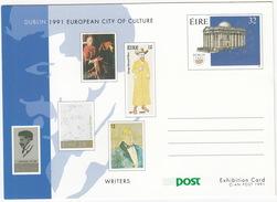 Dublin 1991 European City Of Culture : WRITERS - An Post 1991 - Post Exhibition Card - (Ireland) - Ierland