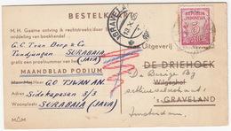 Bestelkaart-briefkaart 1951 - Van: Surabaia (Java) Naar : De Bezige Bij, Amsterdam -  (Maandblad Podium) - Indonésie