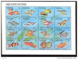 TANZANIA   770  MINT NEVER HINGED MINI SHEET OF FISH-MARINE LIFE - Meereswelt