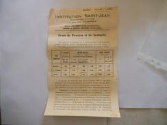 SAINT-QUENTIN INSTITUTION SAINT-JEAN 6 RUE DES ARBALETRIERS FRAIS DE PENSION ET DE SCOLARITE DEPUIS LE 1er AOUT 1941 - Diploma & School Reports