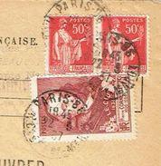 Devant D'enveloppe De Valeurs à Recouvrer Paris 22/03/1937 Timbre 75c Corneille + 50 C  X 2 Paix TTB - 1921-1960: Modern Period