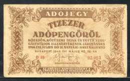 283-Hongrie Ministère Des Finances Billet De 10 000 Adopengo 1946 D38 - Hungary