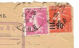 Devant D'enveloppe De Valeurs à Recouvrer Sens 29/04/1927 Timbre 90/1,05 Semeuse + 20 C Semeuse TTB - 1921-1960: Période Moderne