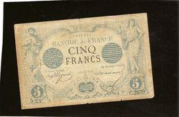 Billet France 5 Francs Noir Mai Gémaux 1873 Tb Plusieurs Plis, De Nombreux Trous D'epingle RRR - 1871-1952 Antichi Franchi Circolanti Nel XX Secolo