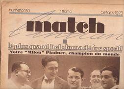 MATCH INTRAN N° 130 5 MARS 1929 MILOU PLADNER CHAMPION DU MONDE BOXE NATIONAL CROSS COUNTRY LOUVETEAUX PLEAU  ECOLE DOL - Journaux - Quotidiens
