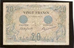 Billet France 20 Francs Noir 14 Octobre 1904 Plusieurs Plis Et Trous TB RRR - 1871-1952 Anciens Francs Circulés Au XXème