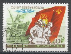 Korea Democratic People's Republic 1976. Scott #1417 (U) Banners, Workers - Corée Du Nord