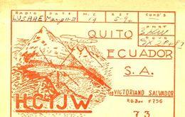 QSL CARD - HCQJW QUITO,ECUADOR - RADIOAFICIONADOS/RADIO HAM - CIRCA 1970S - BLEUP - Radio Amateur