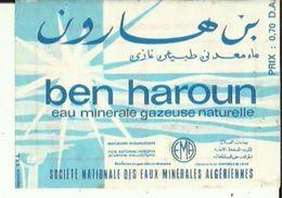 Fiche-Etiquette De Publicité De Ben-Haroun_Eau Minerale Gazeuse Naturelle De Sté Nationale Des Eaux Algeriennes Voir Sca - Werbung