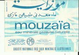 Fiche-Etiquette De Publicité De MOUZAIA_Eau Minerale Gazeuse Naturelle De Sté Nationale Des Eaux Algeriennes Voir Sca - Werbung