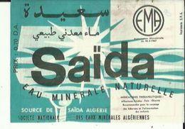 Fiche-Etiquette De Publicité De Source SAIDA _Eau Minerale  Naturelle De Sté Nationale Des Eaux Algeriennes Voir Scan - Werbung