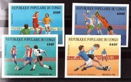 Football Mexico 86 - RP Congo 1986 - PA N° 349 à 352 - Non Dentelés - Neufs ** - Congo - Brazzaville