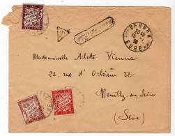 FRANCE - LETTRE TAXEE De Vernon (27) Le 15/01/1939 Avec Marque : Trouvé à La Boite - - Lettere Tassate