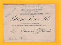 CLERMONT L'HERAULT -34- CARTE DE VISITE-TARIFS - AGRICULTURE - VIGNES - BLANC Père Et Fils,Propriétaire De Vignobles - Cartes De Visite