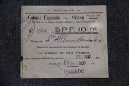 NISSAN LES ENSERUNE - Ticket D'entrée à La COLONIA ESPANOLA - Tickets - Vouchers