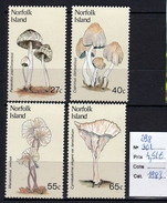 4 Timbres Neufs ** TTB Des Iles Norfolk Champignon  Mushroom - Hongos