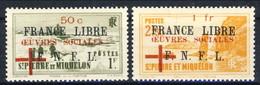 SPM 1942 Serie N. 310-311 Sovr. France Libre Oeuvres Sociales - GO MVVVLH Cat. € 200 Firmati A. Diena X - Nuovi