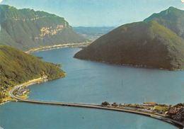 Switzerland Lago Di Lugano, Ponte Di Melide, Bridge Of Melide Lake Panorama - Suisse