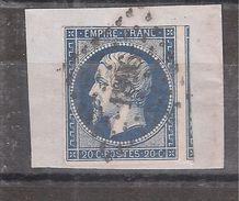 Empire N° 14 A A BLEU TRES FONCE Obl Pc 1896 De MARSEILLE, 1 GRAND VOISIN  Sur Fragment, TB - 1853-1860 Napoléon III
