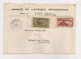 LETTRE DE 1938 DE BANQUE AFRIQUE OCCIDENTALE PORT GENTIL A ZENGANO PAR N'GOMO CPA934 - A.E.F. (1936-1958)
