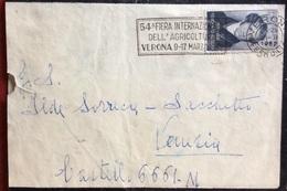 """VINCENZO BELLINI L.25 CON ANNULLO TARGHETTA """"54 FIERA INTERNAZIONALE DELL'AGRICOLTURA VERONA 9-17 MARZO 1952"""" - 6. 1946-.. Republic"""