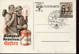 25377 Luxembourg Occupation/special Postmark 12.1.1941 Stamp Day,tag Der Briefmarke,luxembourg,parachutisme,fallschirmsp - Besetzungen