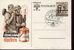 25377 Luxembourg Occupation/special Postmark 12.1.1941 Stamp Day,tag Der Briefmarke,luxembourg,parachutisme,fallschirmsp - Occupation