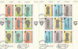 LOTTO 2 FOGLIETTI TIMBRATI ISLE OF MAN EUROPA 1978 (BF175 - Isola Di Man