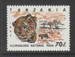 TIMBRE NEUF DE TANZANIE - PARC DU KILIMANDJARO : LEOPARD N° Y&T 1444 - Big Cats (cats Of Prey)