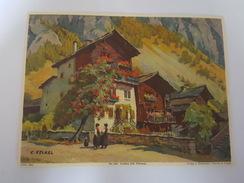 Lithographie, Edition Stehli - Suisse, N°1947 Evolène (Val D'herens) Par C. Felkel - Format 15 Cm X 20 Cm - Suisse