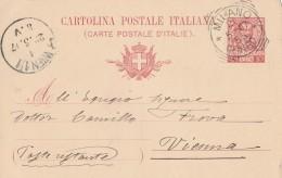 CARTOLINA POSTALE 1907 CENT.10 TIMBRO MILANO - WIEN (S528 - 1900-44 Vittorio Emanuele III