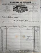 Facture De A LA VILLE De CAMBRAI - Fabrique De Mouchoirs à Mme AURIOL - Datée 30.11.1900 Et Signée - BE - Frankrijk