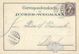 """Motiv Karte  """"Jucker-Wegmann, Zürich""""           1892 - 1882-1906 Wappen, Stehende Helvetia & UPU"""
