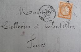 LOT VL4355/3 - CERES (SIEGE) N°38 (LAC) PARIS (Seine) ETOILE > TOURS Par AMB De Nuit PARIS NANTES (VERSO) - 1870 Siège De Paris