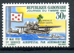 Gabon, 1966, Stamp Day, Airplane, Waterplane, Boats, MNH, Michel 259 - Gabon (1960-...)