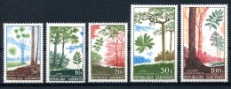Gabon, 1967, Indigenous Trees, Nature, MNH, Michel 289-293 - Gabon (1960-...)