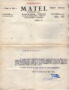 VP10.804 - Lettre - Matériel Electrique Etablissements MATEL à PARIS - Certificat De Mr ALLO De NOISY LE SEC - Electricity & Gas