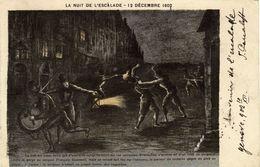 GENEVE LA NUIT DE L'ESCALADE 12 DECEMBRE 1602 CARTE  CIRCULEE 1902 - Histoire