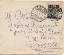 ALBENGA GENOVA Per LIVORNO - 31.1.1917 - Busta 15c. Michetti SOVRASTAMPATO 20c. 4/75 - 1900-44 Vittorio Emanuele III