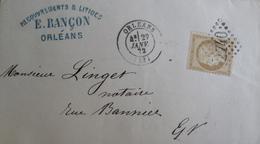 LOT VL4355/9 - CERES N°59 - GC 2740 ORLEANS (Loiret) 27 JANVIER 1872 > ORLEANS (Loiret) - 1871-1875 Ceres