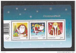 CANADA 2014, #2796,  CHRISTMAS  SANTA CLAUS  SOUVENIR SHEET Of The 3 RATES  MNH - Blocs-feuillets