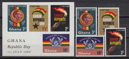 GHANA 71-74 + Block 2  MNH ** - Republic Day - 1960 - Ghana (1957-...)