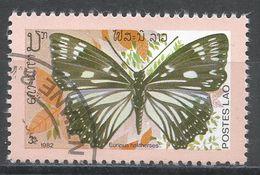 Laos 1982. Scott #388 (U) Butterfly, Papillon, Euripus Halitherses - Laos
